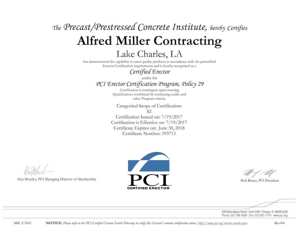 Alfred Miller Contracting Pci Certification Alfred Miller Contracting